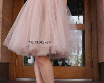 "Tulle skirt with matching lining, fixed waistband with hidden zipper  ""sun-shaped"" (color - nude)"