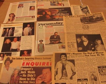 TOM SELLECK  magnum pi star  clippings  #0408