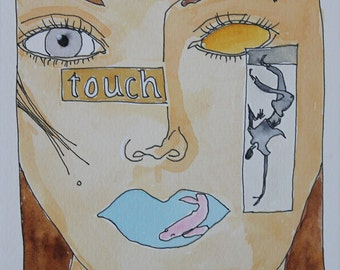 Touch. Fine Art, Painting, Silly Art, Gift Art, Small Art, Watercolor