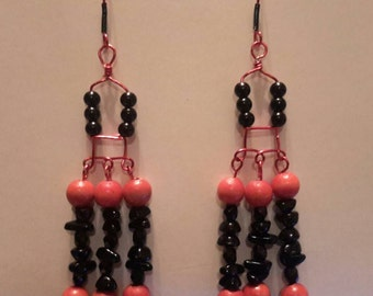Handmade Red & Black Wooden Beaded Chandelier Earrings