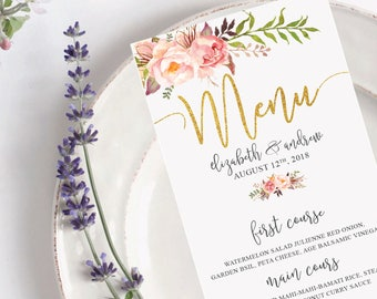 Wedding menu, Wedding menu printable, DIGITAL Wedding Menu, Calligraphy PRINTABLE Wedding Menu, Custom Wedding Menu - US_WO0103