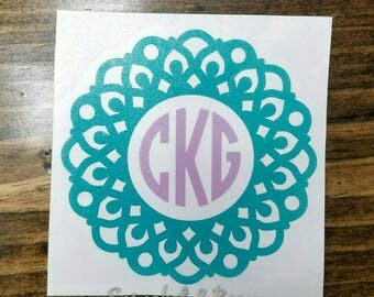 Framed Monogram Decal, Vinyl Mandala Decal, Circle Initials Decal, Personalized Tumbler Decal, Initial Sticker on Tumbler, Monogram Sticker