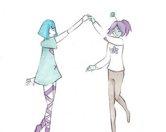 Cute Feminine Dance Art Print Whimsical Giclée Pencil Illustration Print Ballet Ballerina Art