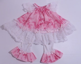 Baby Girl Dress-Pink with Lace-Peasant Dress-Leggings-0-3 months