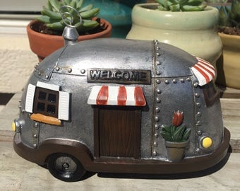 Fairy Garden | Camper Travel Trailer | Miniature Resin Silver Airstream Style | Spring & Summer Gnome Fairy Accessories