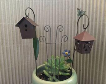 Fairy Garden | Miniature Accessories & Furniture | Choose from MCM Rustic Patio Chairs, Trellis, Lantern, Birdhouse, Shepherd's Hook