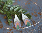 Golden earrings, golden leather feathers, precious earrings, golden jewelry, gold over brass, feather earrings, bohemian earrings, boho chic