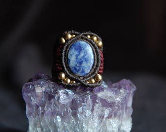 Sodalite ring and brass