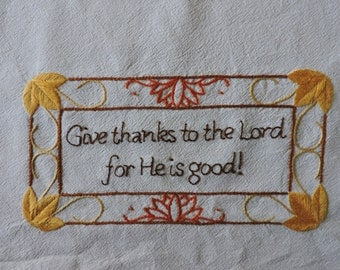 Thanksgiving Embroidery Pattern, Give Thanks Hand Embroidery Pattern, Fall Colors Embroidery Pattern