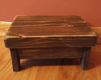 Wood step stool, Wood Dog dish shelf,  Wood Foot Rest,  footrest