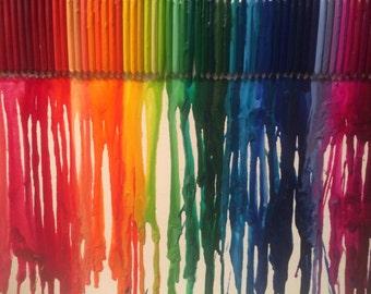 Rainbow Melted Crayon Piece