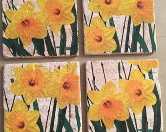 Handmade Daffodil stone coasters