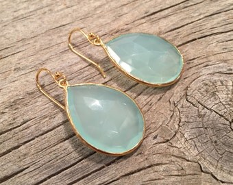 Chalcedony Teardrop earrings rimmed in Gold