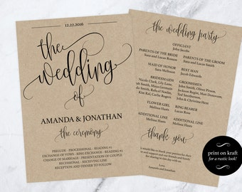 Wedding Program Printable - Printable Wedding Program - Wedding Rustic - Ceremony Printable template  - Downloadable wedding #WDH0117