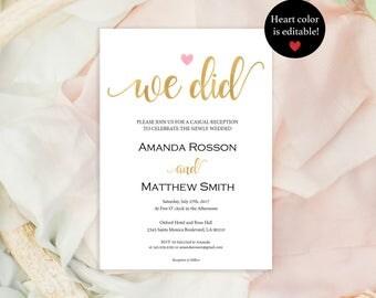 Elopement Reception Invitation - Elopement Announcement - Gold Wedding Invitation - Downloadable wedding  #WDH812236