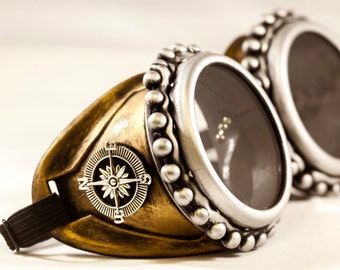 Steampunk Goggles With Key Necklace - Burning Man festival- Steampunk Glasses-Welding Goggles