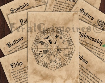 Wiccan Wheel of the Year and Sabbats Instant Download - Wicca Book of Shadows Pages Wheel of the Year - Witchcraft Grimoire Pages