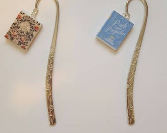 Pride and Prejudice mini book, metal bookmark, Jane Austen mini bookmark.