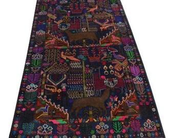 Vintage Pictorial baluchi rug 100% wool