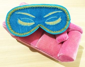 Velvet Holly Golightly Sleep Mask with Eyelashes Audrey Hepburn Night Mask Breakfast at Tiffany's Eye Mask Handmade Sleeping Mask Gift Idea