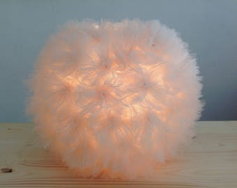 """Lamp table/night light """"Flower"""" in tulle color champagne/pink powder"""