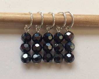 SALE Set of five beaded sparkling black stitch markers