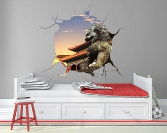Chinese Dragon Statue Faux Window Wall Decal- TOUWD10034