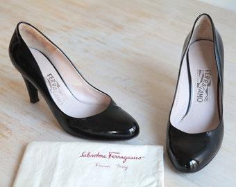 Salvatore Ferragamo Patent Leather Dress Pump Shoes Size 38