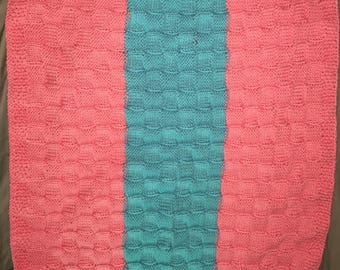 Pink and Blue Basket Weave Baby Blanket