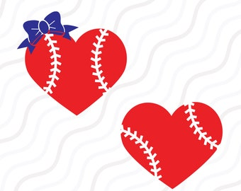Baseball Heart SVG, Baseball Bow SVG, Softball SVG Cut table Design,svg,dxf,png Use With Silhouette Studio & Cricut_Instant Download