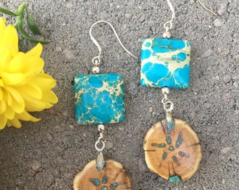 Unique Wood Starburst Turquoise Inlay beaded Earrings