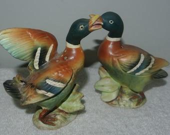 Vintage Victoria Ceramics Japan Mallard Ducks Salt & Pepper Shakers