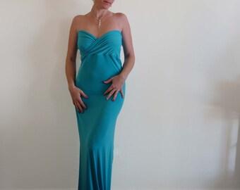 Maxi dress with cross top,bridesmaid dress,flower girl dress,wedding dress,formal dress,turquoise dress
