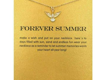 Gold Forever Summer Pendant Necklace, Encouragement Jewelry and Personalized Card