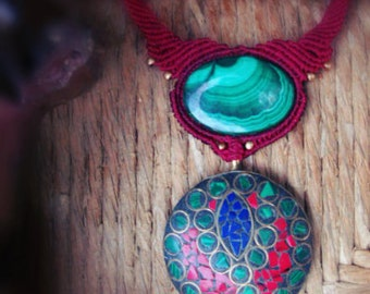Macrame necklace Malachite