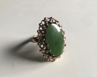 Green Tone Gemstone Ring With Brass Filigree Detail Size 7