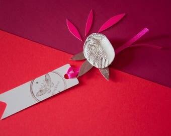 PORCELAIN & leather - flower BROOCH