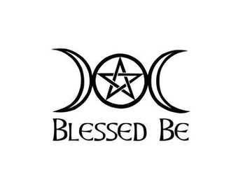 Blessed Be vinyl decal, Pagan, Wiccan, Witch, Pentacle, Crescent Moon