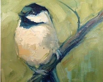 5 x 5 inch Chickadee Painting, Small Chickadee Art, Original Brande Arno Painting