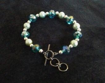 Silver and Blue Bracelet.