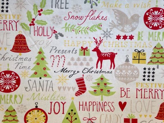 SALE - Bright Modern Christmas Fabric