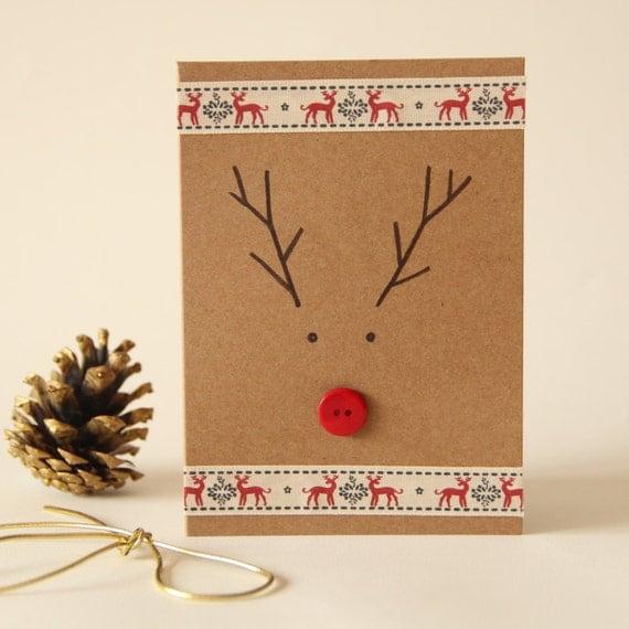 Christmas Rudolph Button Card