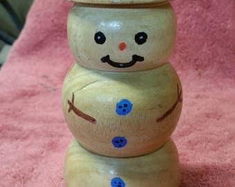 little wood turned snowman