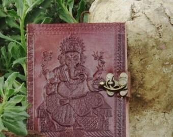 Leather Sketchbook - Bound Journal with Ganesha Design - Handmade Embossed Notebook - Leather Blank Book