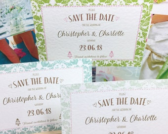 Wedding SAVE the DATE cards in 3 pretty GREEN border patterns with a hint of Pink, Gold lettering, personalised & printed on Textured card