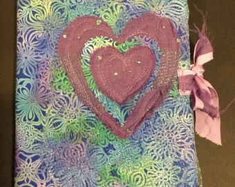 Love heart Quilted notebook cover