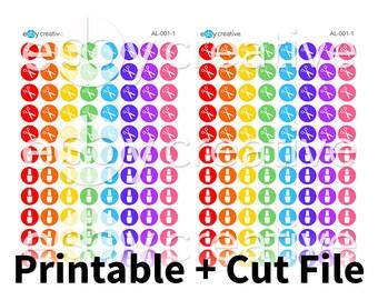 Cute Salon (Nail + Hair) Rainbow Dots - Printable Planner Stickers + Cut File - AL-001 - INSTANT DOWNLOAD