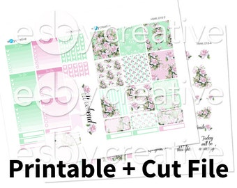 French Rose Floral Garden Theme - Weekly Sticker Kit Printable for Erin Condren Horizontal - HWK-018 - INSTANT DOWNLOAD