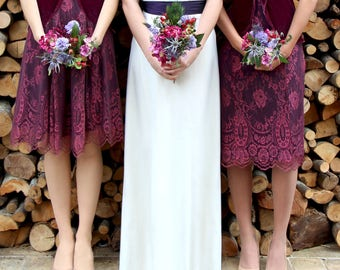 Bespoke Vintage Style Bridesmaid Dresses in Rosewood Lace