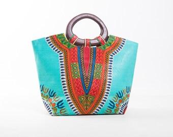 Dashiki printed Kingsize blue bag in wax